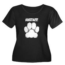 AmStaff Distressed Paw Print Plus Size T-Shirt