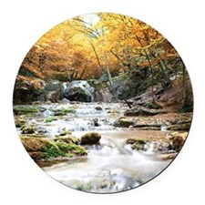 Autumn Stream Round Car Magnet