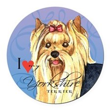 Yorkshire Terrier Round Car Magnet