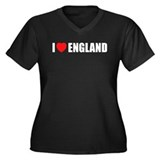 I Love England Women's Plus Size V-Neck Dark T-Shi