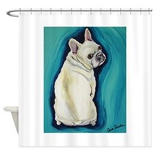 White French Bulldog Shower Curtain