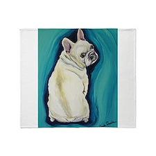 White French Bulldog Throw Blanket