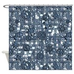 Steampunk Panel - Steel Shower Curtain