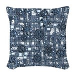 Steampunk Panel - Steel Woven Throw Pillow