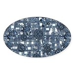 Steampunk Panel - Steel Sticker (Oval 10 pk)