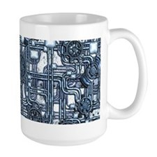 Steampunk Panel, Gears and Pipes - Steel Mugs