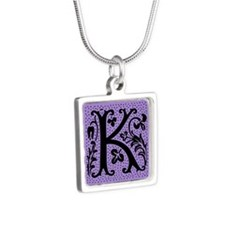 Purple Fleur Monogram K Silver Square Necklace