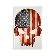 American Flag Skull Rectangle Magnet