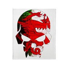 Welsh Flag Skull Throw Blanket