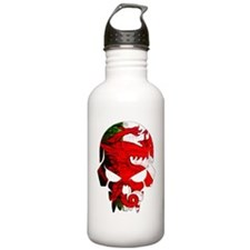 Welsh Flag Skull Sports Water Bottle
