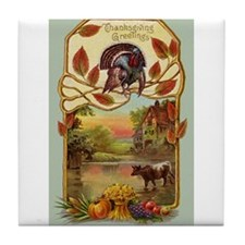 Thanksgiving Greetings Tile Coaster