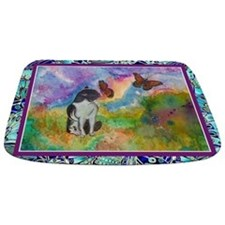 Cat And Monarchs Winged Trim Bathmat Bathmat