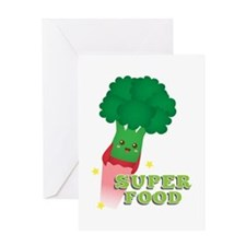 Cute Broccoli Vegetable, Super food Greeting Cards