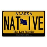 Alaska License Plate Sticker -Native (Rectangular)