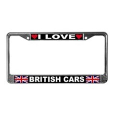 I Love British Cars License Plate Frame