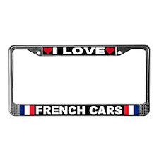 I Love French Cars License Plate Frame
