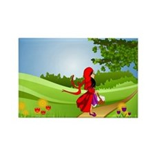 Little Red Riding Hood Taking a W Rectangle Magnet