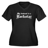 My Husband is a Rockstar Women's Plus Size V-Neck