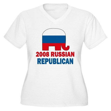 Russian Republican Women's Plus Size V-Neck T-Shir