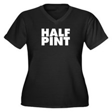 Half Pint Women's Plus Size V-Neck Dark T-Shirt