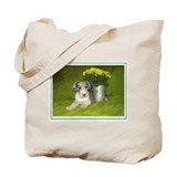 N Mrl Pup Flowers Tote Bag