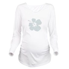 Blue Hibiscus Flower Long Sleeve Maternity T-Shirt