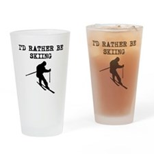 Id Rather Be Skiing Drinking Glass