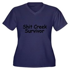 Shit Creek S Women's Plus Size V-Neck Dark T-Shirt
