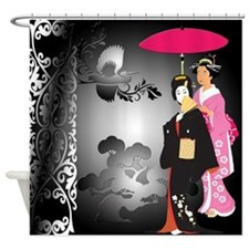 Two Japanese Women In Black Shower Curtain
