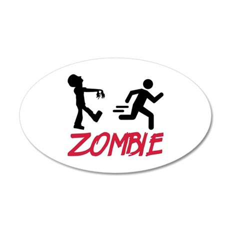 Zombie running person 20x12 Oval Wall Decal