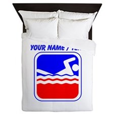 Custom Swimming League Logo Queen Duvet