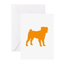 pug orange 1C Greeting Cards