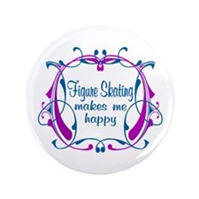 "Figure Skating Happiness 3.5"" Button"