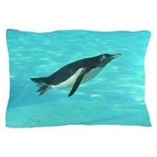 Penguin Swimming Underwater Pillow Case