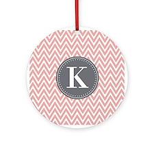 Pale Pink Chevron Pattern Grey Monogram Ornament (