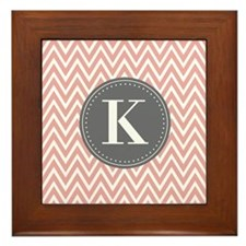 Pale Pink Chevron Pattern Grey Monogram Framed Til