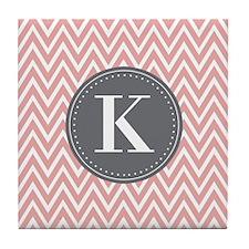 Pale Pink Chevron Pattern Grey Monogram Tile Coast