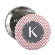 "Pale Pink Chevron Pattern Grey Monogram 2.25"" Butt"