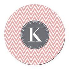 Pale Pink Chevron Pattern Grey Monogram Round Car