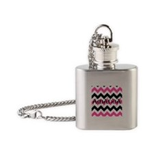 Personalized Chevron Pink Black White Flask Neckla
