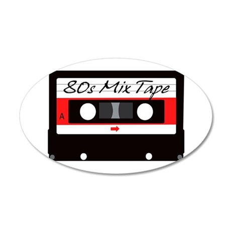 80s Music Mix Tape Cassette 35x21 Oval Wall Decal