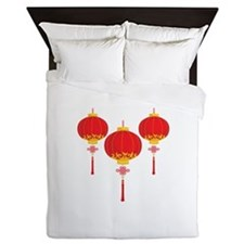 Chinese New Year Lanterns Queen Duvet