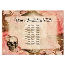 Vintage Rosa Skull Collage Invitations