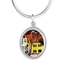Macke - Staudacher's House at Silver Oval Necklace