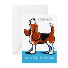 Beagle Howling Funny Birthday Greeting Cards