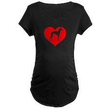 Love Heart Italian Greyhound Maternity T-Shirt