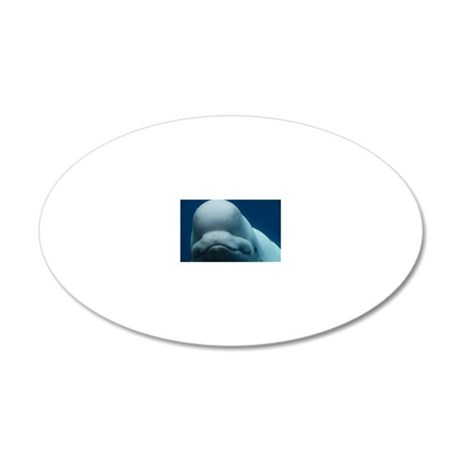 Sweet Beluga Whale 20x12 Oval Wall Decal