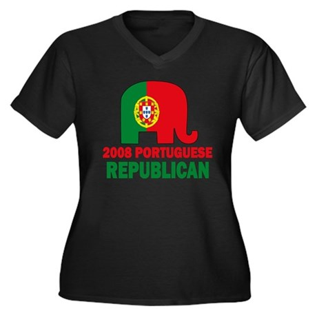 Portuguese Family Women's Plus Size V-Neck Dark T-