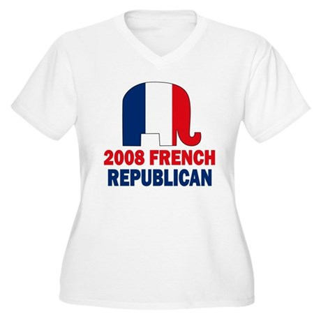 French Republican Women's Plus Size V-Neck T-Shirt