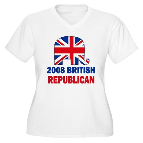 British Republican Women's Plus Size V-Neck T-Shir